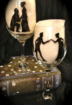 Jane Austen silhouette wine glasses, by TouchOGlass on etsy.com