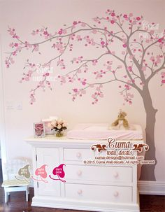 cherry blossom wall decal wall decals flower vinyl wall decals wall muralwall sticker nursery- flower tree Z705 cuma