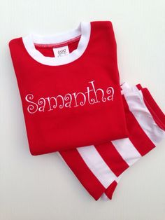 Personalized Christmas Pajamas by LoveBugEmbroidery on Etsy https://www.etsy.com/listing/162949247/personalized-christmas-pajamas
