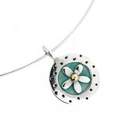 Forget Me Not Pendant    Price: £145.00               Pretty forget me not flower pendant has 18 carat gold centre and is surrounded by aqua enamel     It hanngs from am 18 inch omega wire, however ia also available with 18 inch belcher chain as alternative. Forget Me Not Pendant    The pendant measures 1.8cm diameter approx. Forget Me Not, Temple Jewellery, Flower Pendant, Carat Gold, Precious Metals, Washer Necklace, Aqua, Jewels, Gemstones