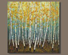 FREE SHIP large abstract painting landscape von SageMountainStudio