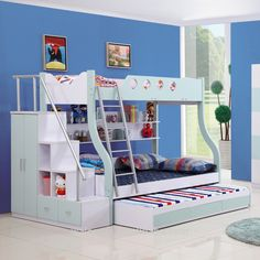 Creative Triple Bunk Beds For Teens And Kids Bedroom Furniture Ideas: Modern Aqua And White Themed Wooden Triple Bunk Beds With Stair And Storage For Kids Bedroom Furniture Ideas
