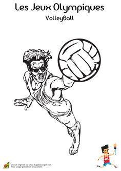 Coloriage d'un joueur à lunettes jouant au Volley-ball et prêt pour un service