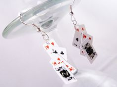 PLAYING CARD EARRINGS  poker casino dollhouse by dinkydodger, £5.00