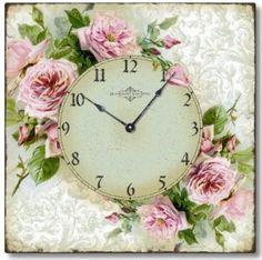 """Amazon.com: Item C6120 Vintage Style Romantic Shabby Roses Clock: Home & Kitchen KITCHEN CLOCK 10"""" SQ $30 OR USE PRINTABLES AND MAKE PARISIAN UNSPIRED FROM CHEAP FIVE DOLLAR STORE CLOCK AND OLD FROM"""
