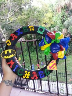 Superhero wreath for my sister's baby shower!