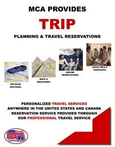 Planning and Travel Reservations MCA offers free and easy to read, step by step computerized mapping services free of charge to our members. Simply fill out a Travel information card or give us a call. This includes places of interest, resort, motel and hotel information found along your route. You also have a one-stop reservation service for airline travel, car rental, and hotel discounts.