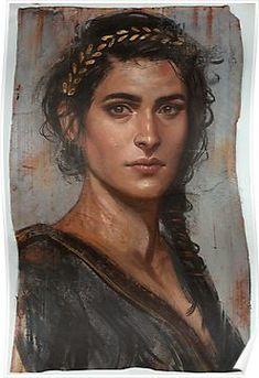 Fayyum mummy portrait of Kassandra, from Assassin's Creed Odyssey. Art by: Dian… - Örgü Modelleri Assassins Creed Art, Assassins Creed Odyssey, Character Portraits, Character Art, L'art Du Portrait, Foto Art, Art Graphique, Character Inspiration, Fantasy Art