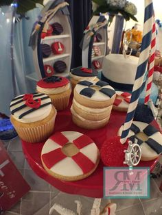 Delicious desserts at a nautical baby shower party! See more party planning ideas at CatchMyParty.com!
