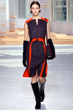 Boss Fall 2015 Ready-to-Wear - Construction on the top is interesting. I need to make something with this bright red/charcoal combo