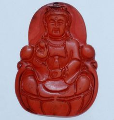 Red Chinese Old Jade Hand Carved Sitting Lotus Meditation Kwan-yin Amulet QM89