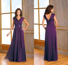2015 New Formal Dark Purple Chiffon Plus Size Mother Of The Bride Dresses Capped V Neck A Line Ruffles Long Mother Evening Gowns DL1314099, $105.03 | DHgate.com