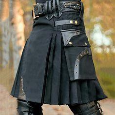 Scottish Skirt, Kilts For Sale, Modern Kilts, English Dress, Traditional Skirts, Leather Kilt, Black Leather, Gothic Men, Utility Kilt