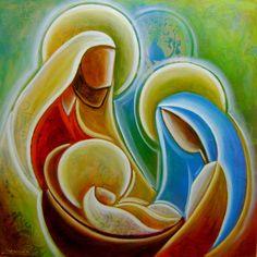 Christmas Nativity, Christmas Crafts, Nativity Painting, Jesus Art, Biblical Art, Holy Family, Christmas Paintings, Native Art, Paint Party