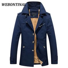 Amazing Price $65.45, Buy WEBONTINAL Winter Warm Male Jacket Men Windbreakers Casual Coats Quality Cotton Thicken Jackets Windrunner For Lapel Outerwea
