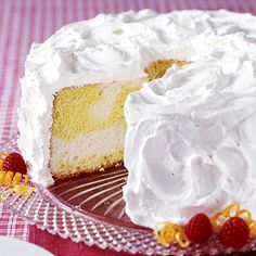 This light, low-calorie cake is frosted with lemon-flavored whipped topping. It's a sweet yet refreshing dessert for  any meal.