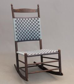 "19th c. Shaker No. 7 Mount Lebanon rocking chair. Label on interior of rocker. 16 1/2"" seat Ht., 40"" overall Ht..."