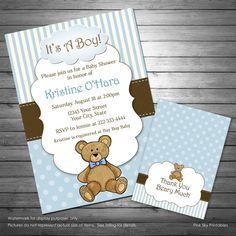Boy teddy bear baby shower invitation teddy bear thank you card boy teddy bear baby shower invitation teddy bear thank you filmwisefo