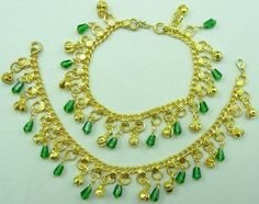 2pcs Pair Green Beads Golden Polish Bollywood Sound Bell Chain Anklet Payal 18 | eBay