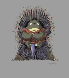 Game of Thrones and Totoro mashup art by @gen_ghibli