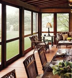 dream porch-garden by selinsporch Enclosed Porches, Decks And Porches, Screened In Porch, Cabin Porches, Outdoor Rooms, Outdoor Living, Outdoor Patios, Outdoor Kitchens, Porch Styles