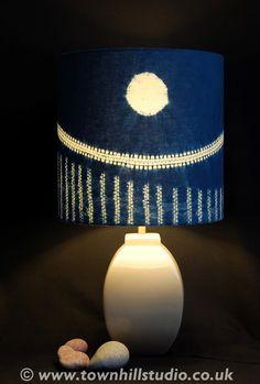 "30 x 30cm shibori design lampshade ""Moon Landscape"" dyed with indigo by Townhill Studio."