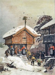 A Norwegian Christmas, 1846 painting by Adolph Tidemand. This shows the people's many trips to and from the stabbur, preparing for the Christmastime festivities. Gr-gr-grand would have lived in Norway then Norwegian Christmas, Scandinavian Christmas, Christmas Calendar, Christmas Cards, Christmas Fun, Xmas, Norwegian Style, Illustrations, The Good Old Days