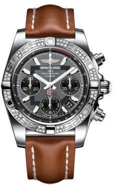 Breitling Chronomat 41 Steel Diamond Bezel Leather Strap Tang AB0140AA/F554