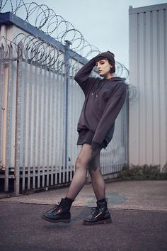 Get this look: http://lb.nu/look/8849175  More looks by Amy Souter: http://lb.nu/amystardust  Items in this look:  Primark Oversized Grey Hoodie, Primark Denim Skirt, Primark Beanie, Dr. Martens Dr Marten Patent Leather Boots   #casual #edgy #grunge #boots #drmartens #ankleboots #oversized #hoodie #baggy