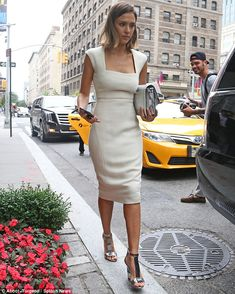 Jessica Alba in Narciso Rodriguez dress, Jimmy Choo shoes - In New York City. (June 2015)