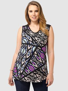 Ikat Printed V-Neck Top by Postcards,Available in sizes 10/12,14/16,18/20,22/24,26/28 and 30/32
