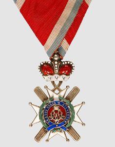 Serbia, Principality, Order of Takova, Officer's Badge with momogram of Prince Milan IV with original traingular ribbon