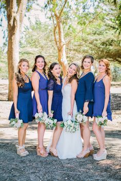 Bridesmaids in Mismatched Blue Dresses| Rustic Chic Mountain Wedding|Photographer: David Pascolla Photography