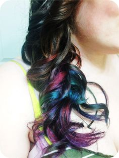 Rainbow ombre curls, magical unicorn mermaid hair! Think I'm going to do this to my extensions.