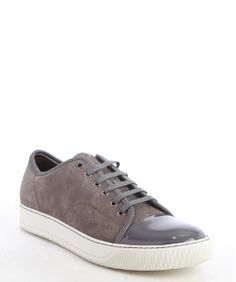 Lanvinkhaki suede and brown leather cap toe sneakers