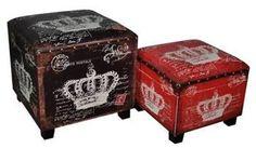 Ottoman Storage Crown Leatherette Trunk Set