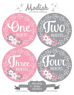 Trendy Baby Shower Ides For Girls Flowers Pink Baby Bottle Labels, Baby Shower Gifts, Baby Gifts, Milestone Pictures, Baby Announcement Photos, Baby Month Stickers, Babies First Year, Baby Milestones, Baby Month By Month