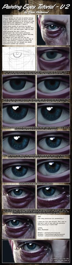 How to paint Eyes Tutorial - V2 by Dean Packwood on @DeviantArt. Digital Painting in Photoshop.