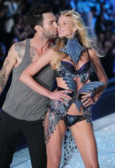 Adam Levine with ex-girlfriend Anne V during VS Fashion Show 2011