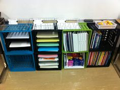 Crate Storage - I saw this in a teachers classroom last year, but she had some of those really cute fabric drawers in a few of the crates. It looked really cute!