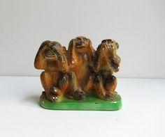 Vintage mid century retro painted plaster three wise monkeys. $24.00, via Etsy.