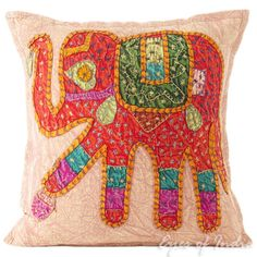 16-BROWN-ELEPHANT-DECORATIVE-INDIAN-PILLOW-CUSHION-COVER-Ethnic-India-Decor