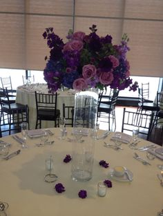 Lavenders, purple and hint of blue high centerpiece ...