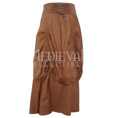 Tan Steampunk Gathered Skirt - VG-0118 by Medieval Collectibles