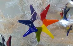 Rainbow Star Fused Glass Opaque Colours Ready To Ship 7 x