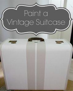 Paint a Vintage Suitcase With Stripes