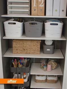 """Before & After: An Overstuffed Closet Gets a Master Cleanse"" AKA my dream storage closet!"