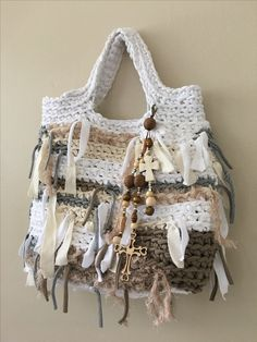 Daniela Gregis look-a-like shopper, tote bag. Crocheted cotton with embellishments and removable or re-positional bag jewelry. Gentle hand wash in cold water and lay flat. One-of-a-kind bag by Cherie