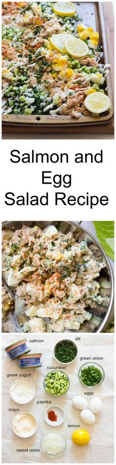 Salmon and Egg Salad Recipe - canned salmon and egg salad loaded with crispy veggies, herbs, and tossed with greek yogurt dressing | littlebroken.com @littlebroken