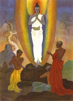 The Transfiguration by A.D. Thomas.  Alfred David Thomas (1907-1989) was an Anglican Indian who studied at the Lucknow Art School in Santiniketan, where he studied under Bireswar Sen and Nandalal Bose.  Sen himself was influenced by French book illustrator Edmund Dulac, who produced illustrations for children's classics such as The Arabian Nights, Sleeping Beauty, and Stories from Hans Christian Andersen, among others.